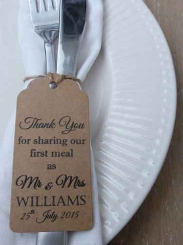 """Personalised Wedding Favour Gift Tag """"Thank you"""" Guest Label Kraft/ Napkin Ring 