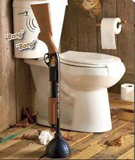 Toilet Bowl Plunger Redneck Shotgun Gag Gift Unplug Bathroom Stool Home Décor