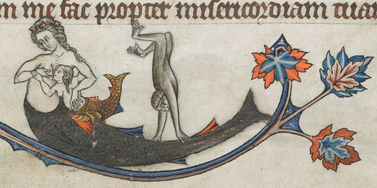 Mermaid breastfeeding while monkey is doing a handstand on her tail, Add. 24686, f. 13r, c 1284-1316. British Library