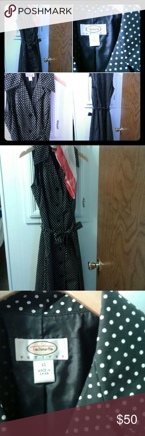 Talbots petite size 10 dress Gently worn Talbots black and white polka-dot petite dress with self sash. Looks new. Talbots Dresses