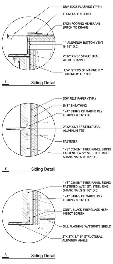 DRAWING | Cement fibre siding details. Elizabeth H Bates Masi Architects #Technical #Drawings #Detail [ok]