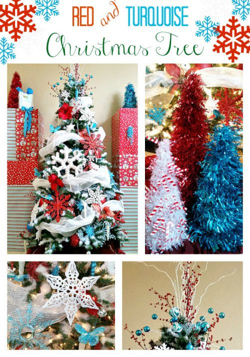 Red-and-Turquoise-Christmas-Tree - 2014 Christmas tree and tips on how to attach mesh, make a tree topper, and more.