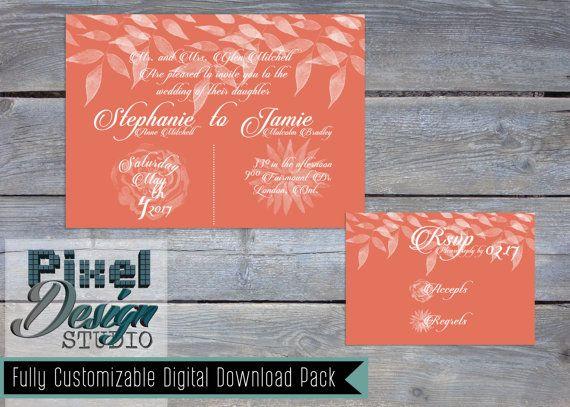 Garden Party 5 x 7 Wedding Invitation  RSVP by PixelDesignStudio