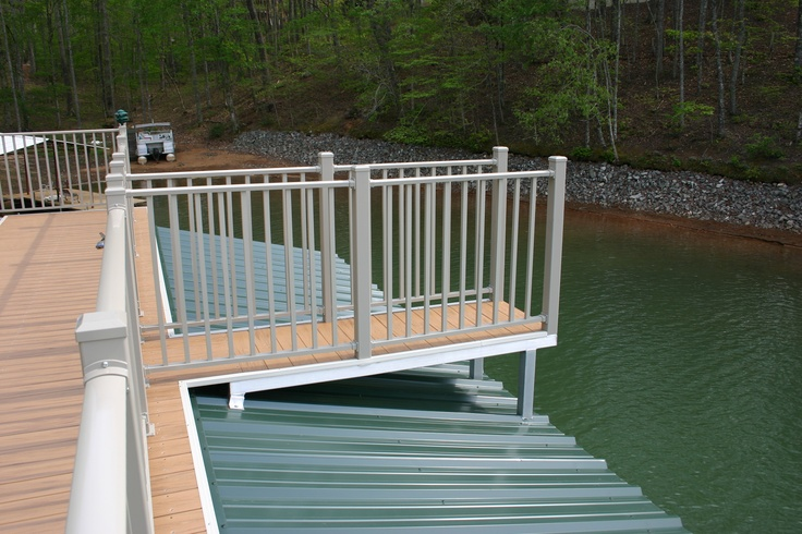 Jump platform on two story Wahoo floating aluminum dock.