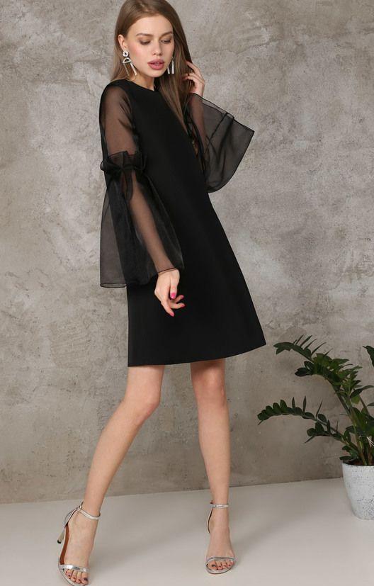 Платье прямого силуэта с пышными рукавами из органзы TOP20 Studio / 2000000189543-0