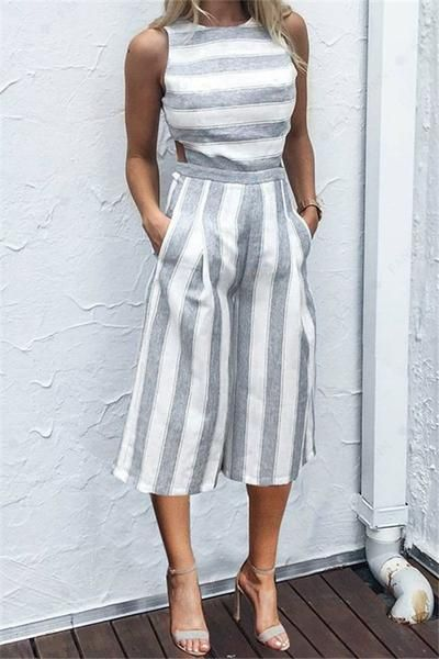 b74aa3e6e8994 Casual Striped Wide Leg Jumpsuit | My style | Fashion, Casual ...