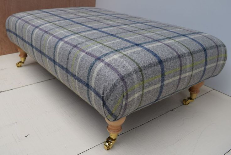 New Large Footstool / Table- 'Multicheck / Mid Grey' Wool MOON Tartan Fabric!!!  | eBay