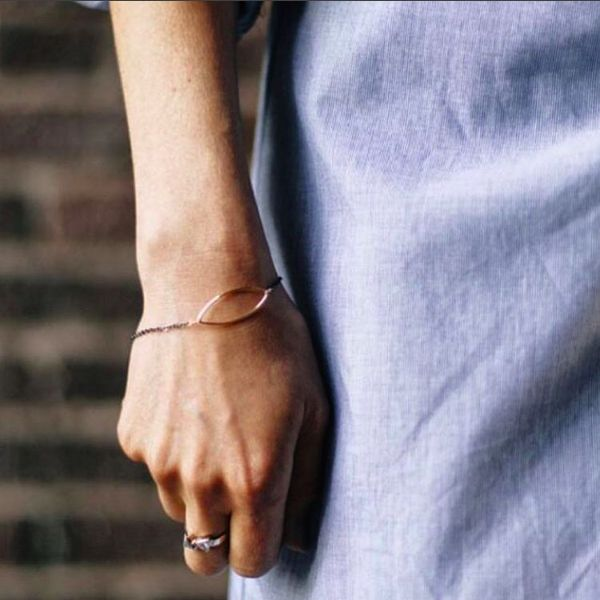 Our delicate Mandorla bracelet, lovely on its own or stacked
