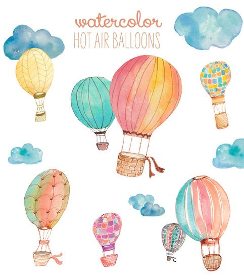 This cute watercolor hot air balloon clip art comes ready to fly. This watercolor clip art listing includes a whopping 52 PNG images at 300 DPI quality. Many of the balloon styles come in various colors. Includes the hot air balloon styles pictured plus many more colors. These would be perfect fo...