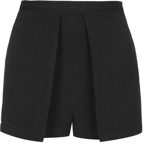 TOPSHOP Ribbed Structured Skort ($11) ❤ liked on Polyvore featuring shorts, skirts, bottoms, skort, short, black, black skort, black golf skirt, cotton skort and topshop