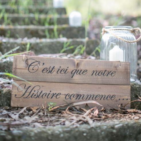 """Panneau en bois � suspendre """"notre histoire commence"""""""