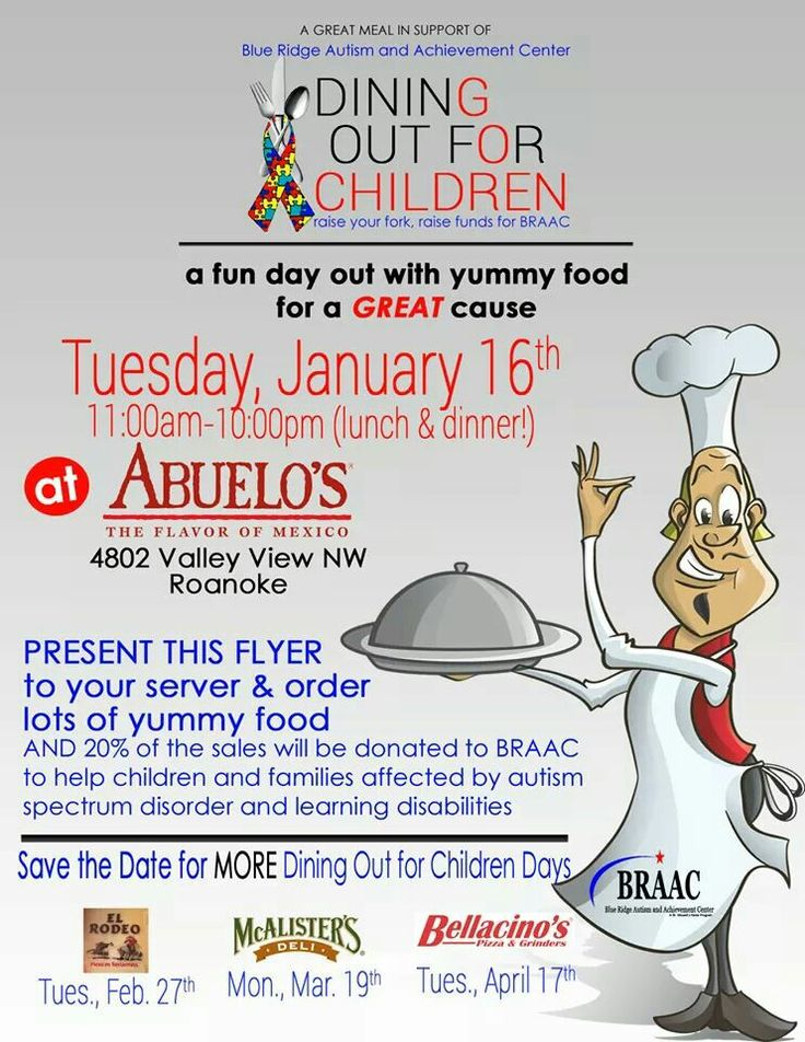 Dining Out for Children Tuesday, Jan.16th 11am - 10pm.  Abuelo's Mexican Restaurant Make sure to take this flyer to help support BRAAC! Blue Ridge Autism and Achievement Center http://ow.ly/eucZ30hNz1A