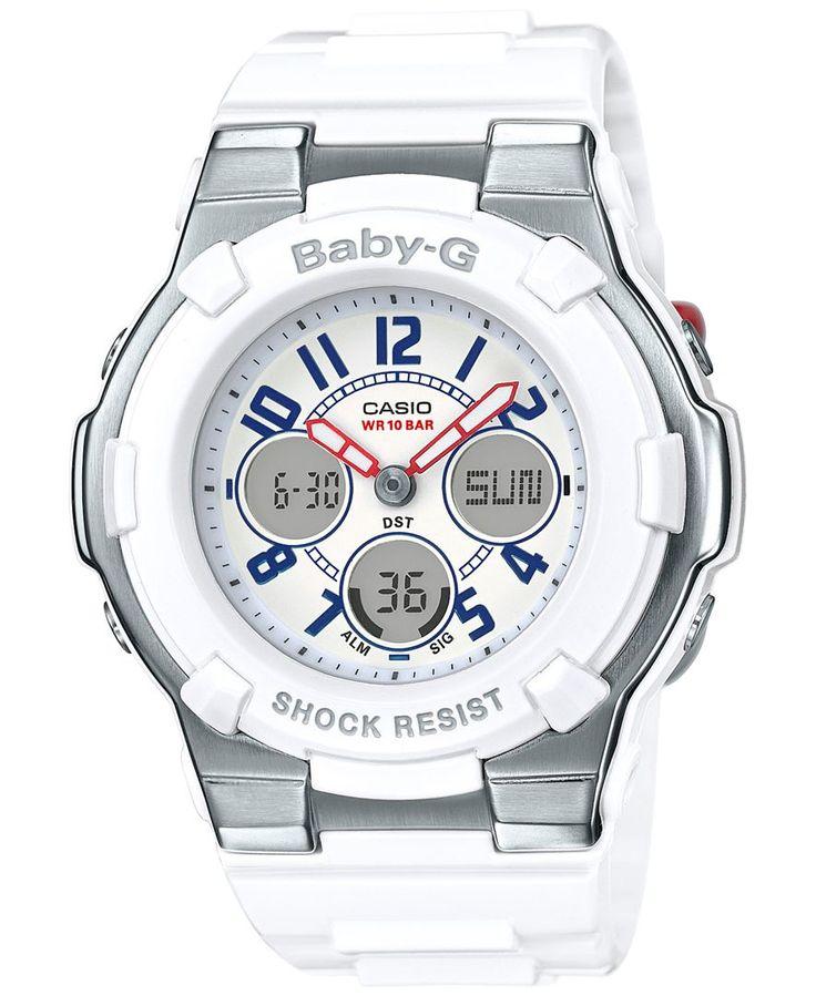 Baby-g Women's Analog-Digital White Resin Strap Watch 44x40mm BGA110TR-7B