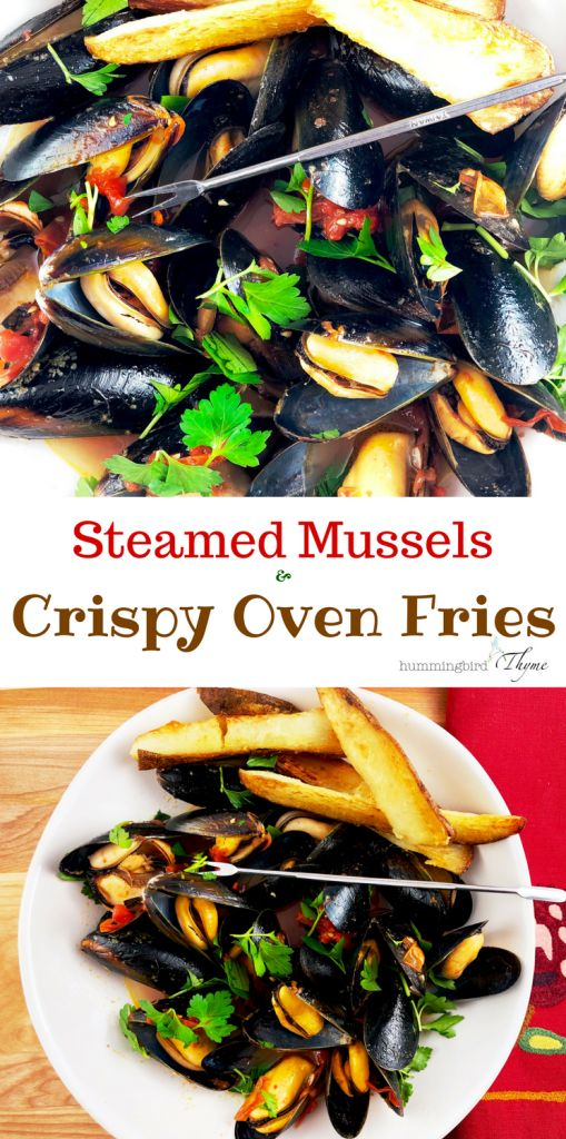 Steamed Mussels & Crispy Oven Fries from Martha Stewart features tender, mild mussels in a white wine broth with nicely crispy fries.  So easy!  So Impressive!  #yesplease #easyandimpressive #seafood #mussels #ovenfries #foodblogger #hummingbirdthymedotcom