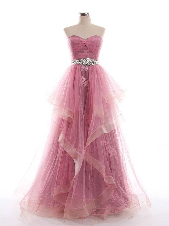 Purple Tulle Strapless Prom Pageant Evening Dress G2017 jojodress.com