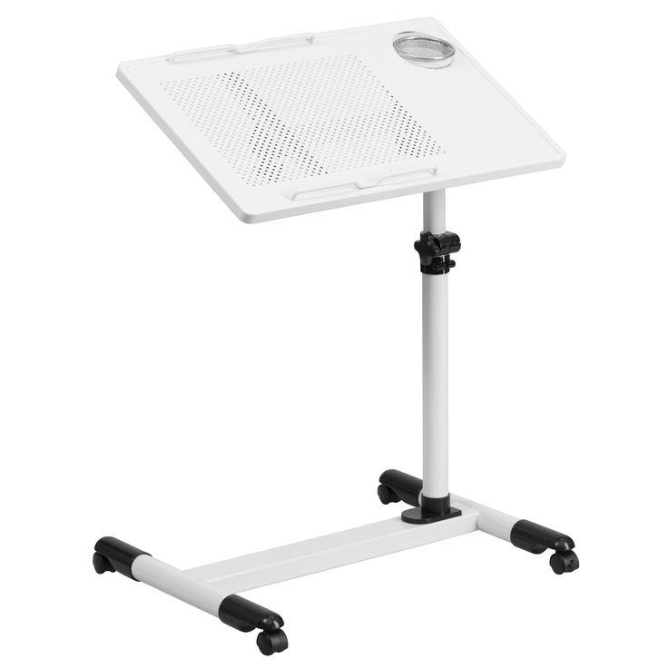 Flash Furniture White Adjustable Height Steel Mobile Computer Desk [NAN-JG-06B-WH-GG]