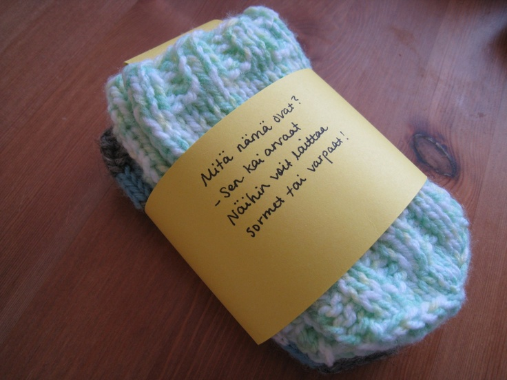 """Tube socks"" for a baby. Can be used as socks or mittens."
