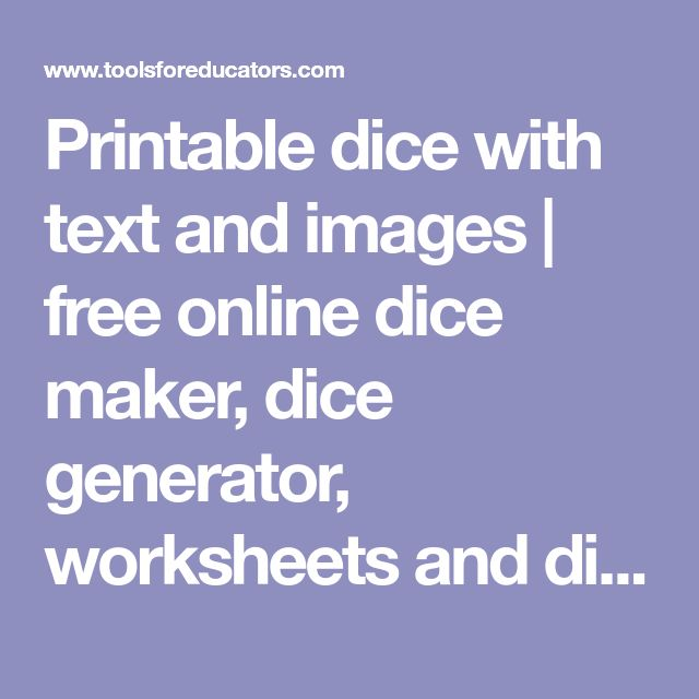 Printable dice with text and images   free online dice maker, dice generator, worksheets and dice to print