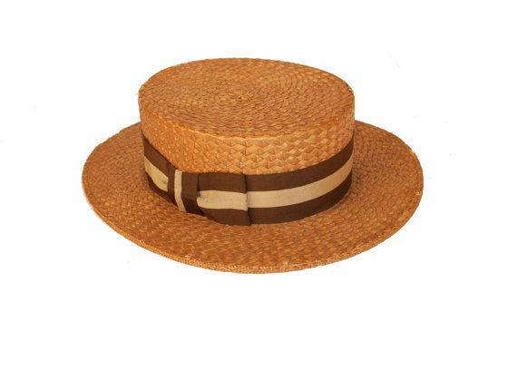 1920s Men's Straw Boater by MadgesHatBox on Etsy, $125.00