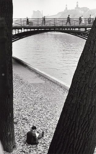 Andre Kertesz  Pont des Arts, Paris (man reading between trees), 1963