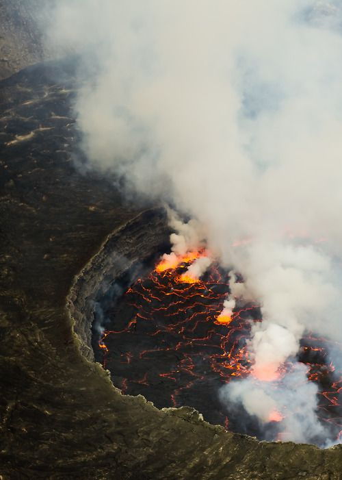 Mount Nyiragongo is an active stratovolcano in the Virunga Mountains, associated with the Albertine Rift. It is located in Virunga National Park, Democratic Republic of the Congo.  Its crater contains a lava lake.  Since 1882, it has erupted at least 34 times.