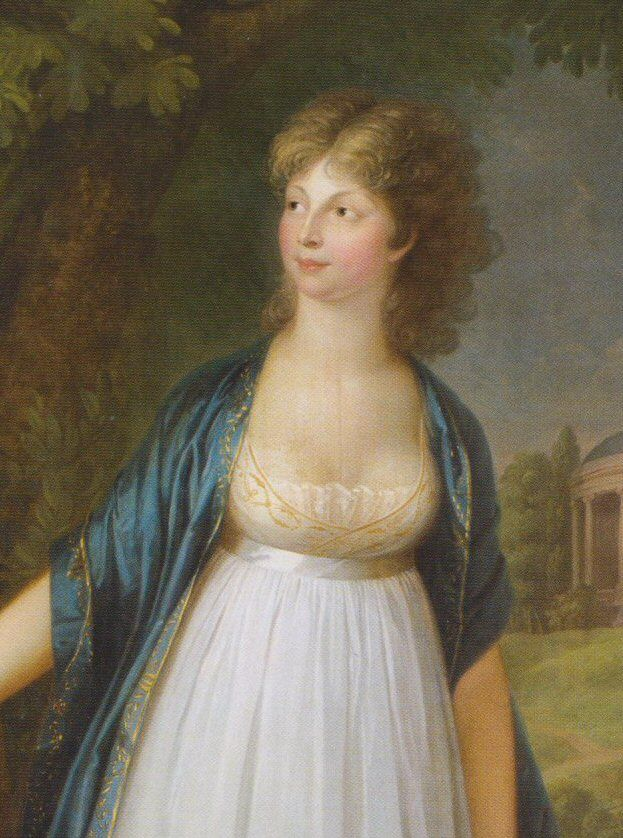 Queen Luise of Prussia wearing a lace chemise under a very décolleté over-dress in this and a gold-trimmed wrap by William Böttner, 1799.
