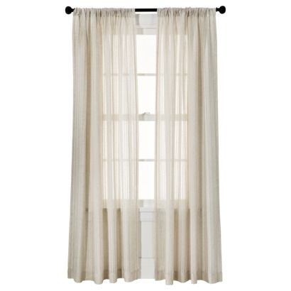 "Threshold Leno Weave Window Sheer.  $24.99. Only available in ivory and tan. Available in two sizes; 54"" by 95"" is the largest."