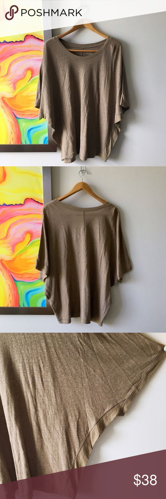 LANE BRYANT Sandy Linen Summer Top Never worn. Great modern design in a lovely summer neutral. Fabric is a linen blend, so breathable with a lovely pilled texture of Linen that gives it a cozy feel from the first wear. Sleeves are batwing style💕 Lane Bryant Tops