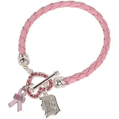 LogoArt Detroit Tigers Breast Cancer Awareness Bracelet - Pink