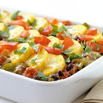 Mexican Polenta Pie: Great for a potluck or family dinner, this 12-serving casserole combines polenta with ground turkey, spices, black beans, tomatoes and Monterey Jack cheese.