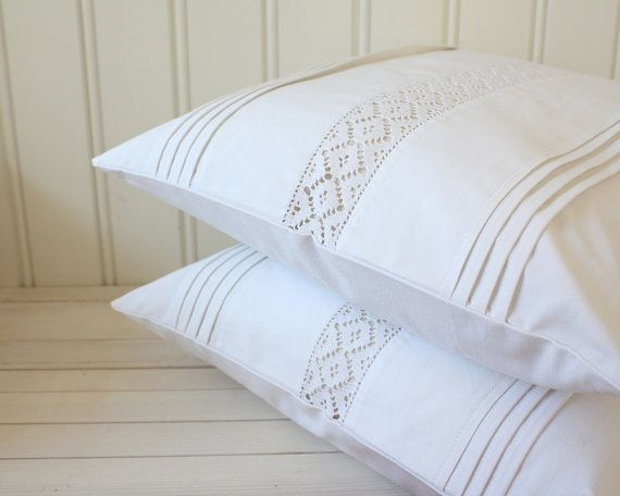 white pillow cover set of two 40 x 40cm by Tuuni on Etsy, €75.00