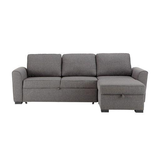 Canapé d'angle convertible 3/4 places en tissu gris