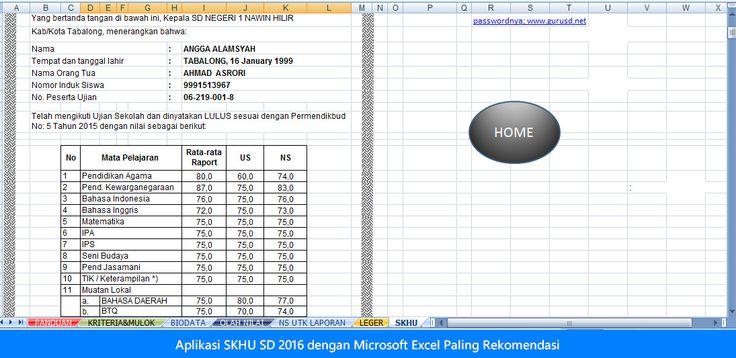 [File Pendidikan] Aplikasi SKHU SD 2016 dengan Microsoft Excel Paling Rekomendasi