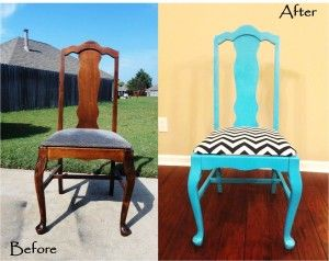 turquoise/black chevron: Refurbished Furniture, Refurbished Chairs, Chairs Projects, House, Furniture Ideas, Old Chairs, Diy, Crafts, Chairs Redo