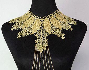 VENDITA pizzo dorato grande catena perline bavaglino catena d'oro corpo //large girocollo gioielli nuziali / / retro gioielli art deco / / regalo per lei