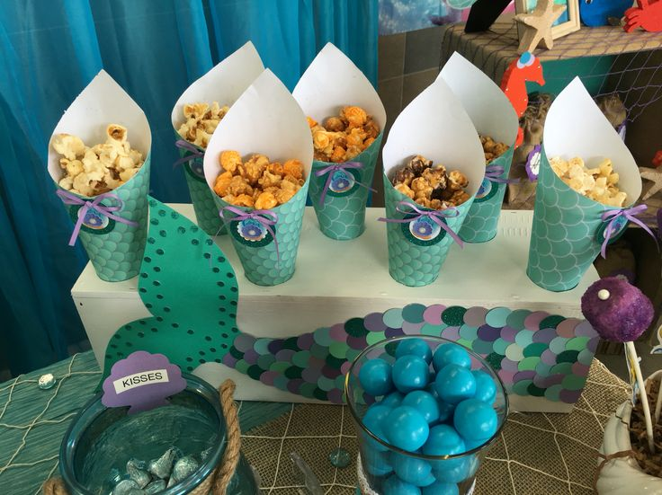 Popcorn station in mermaid candy bar