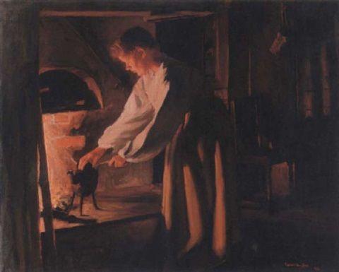 Sam Uhrdin. LISS-EVA VID SPISEN. 1946. Olja på duk. 73 x 92 cm.