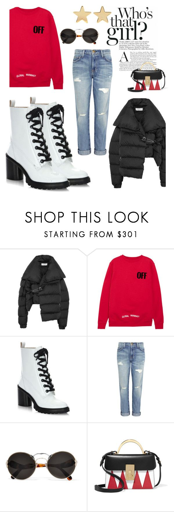 """that girl"" by stacy-gustin ❤ liked on Polyvore featuring Marques'Almeida, Off-White, Marc Jacobs, Current/Elliott, Prada, The Volon, Jennifer Meyer Jewelry and ootd"