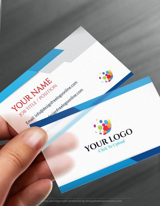 Online Business Card Maker app - Modern Blue Business card Template