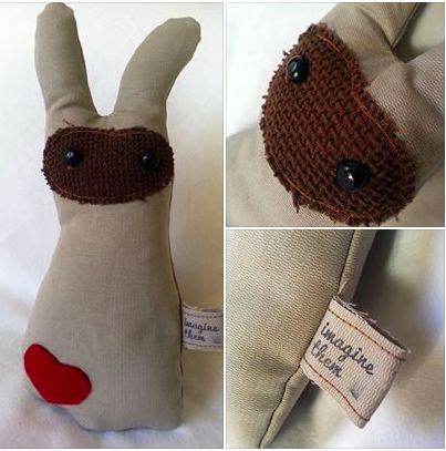 Handmade Canvas Bunnies from our new Industrial Collection https://www.facebook.com/imaginethemtoyshop