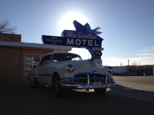 Retro hotel on old Route 66 in Tucumcari, New Mexico. Great stay at the Blue Swallow Motel.