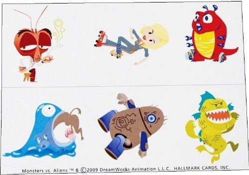 """Monsters vs. Aliens Temporary Tattoos by LGP. $12.02. Add some style to your outfit and make a fashion statement by applying these temporary tattoos to your skin that feature """"Monsters vs. Aliens"""" characters. These Monsters vs. Aliens Temporary Tattoos make a great game prize or party favor for your Monsters vs. Aliens fans. Full application and removal instructions on back of package. Monsters vs. Aliens Tattoos Sheets (2 sheets) have 3 different tattoos on each s..."""