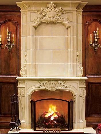 Elaborate fireplace.