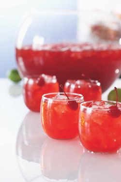 cranberry, lemon, vodka punch. Can make something simple like woowoo or sex on the beach in bulk like this