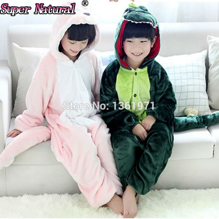 HKSNG Winter Kids Flannel Animal Pink Green Dinosaur Pajamas Onesie Child Cosplay Costume Sleepear For Party #Affiliate