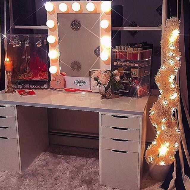 This beautiful room by Nikki French Makeup featuring Vanity Girl Hollywood White Broadway Mirror, Cosmocube acrylic organizer and sparkly accents