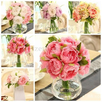 10 #heads #artificial silk flower peony flowers wedding #bouquet bridal party dec,  View more on the LINK: http://www.zeppy.io/product/gb/2/291731422651/