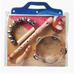 WoodStock Woodstock Band by WoodStock. $30.00. Six cool instruments. Comes packaged in a see-through, re-usable carry bag. Includes a mini maraca, an egg shaker, castanets, sleigh bells, tambourine and recorder. From the Manufacturer                This collection is made up of six cool instruments selected for their ease of playing, quality of construction and their musical compatibility. The wooden instrument set includes a mini maraca, an egg shaker, castanets, s...