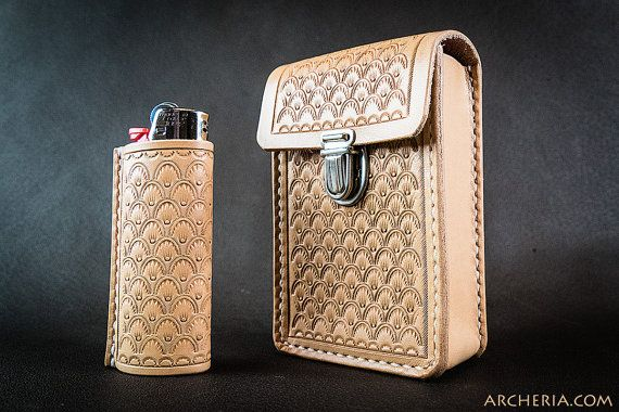 Leather cigarette case with or without lighter case geometric seashell pattern handcrafted