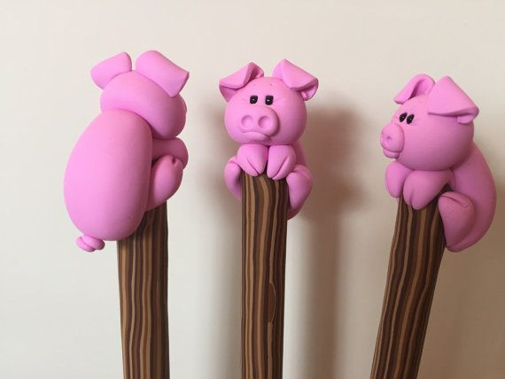 Polymer Clay Pink Piggy Ball Point Pen by handmademom on Etsy